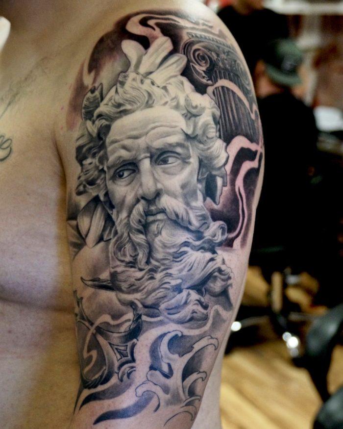 Realism Tattoo Sleeve: Photo Realistic Posiedon Half Sleeve Tattoo