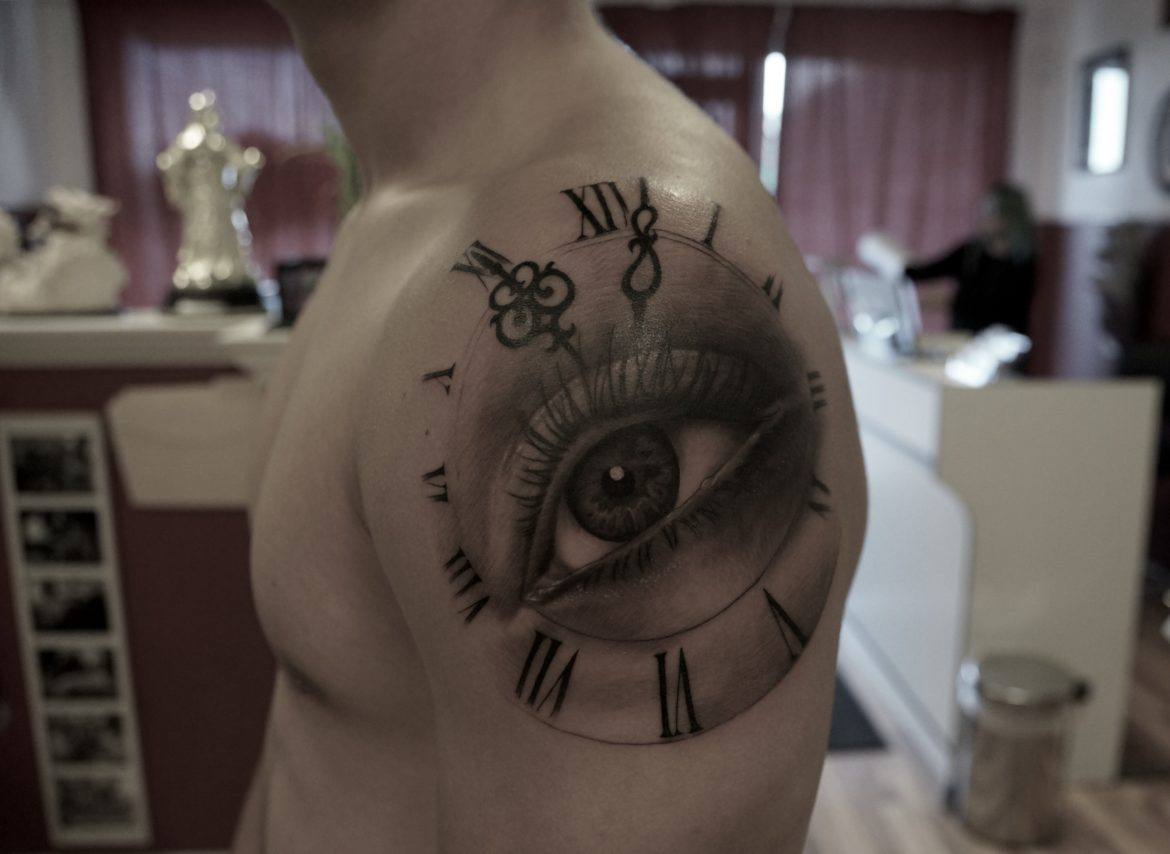 72e973f5d Black and Grey and Clock Tattoo