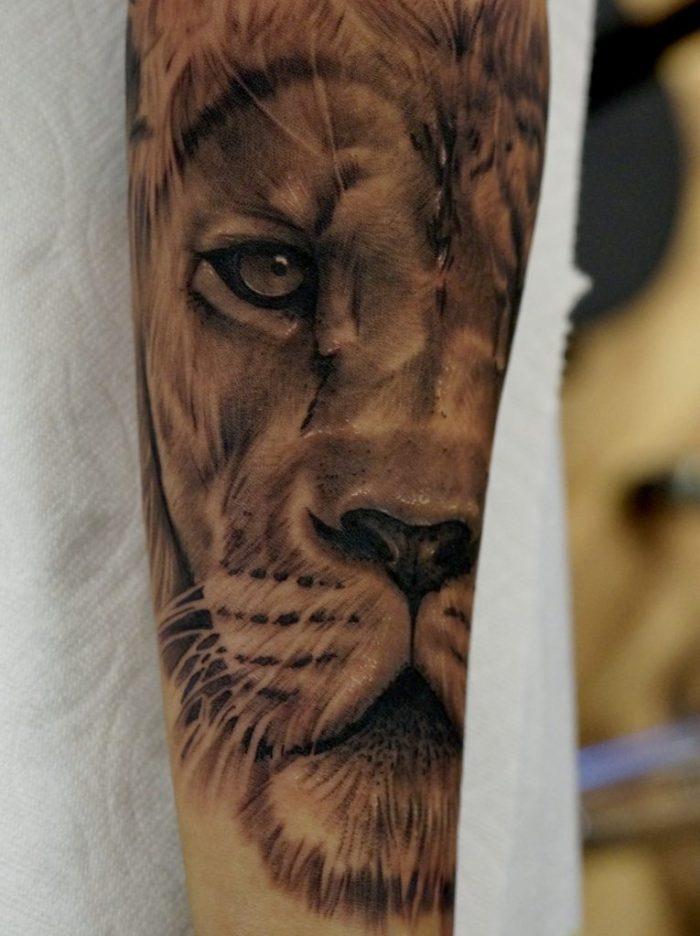 Black and grey realistic lion tattoo love n hate for Love n hate tattoo