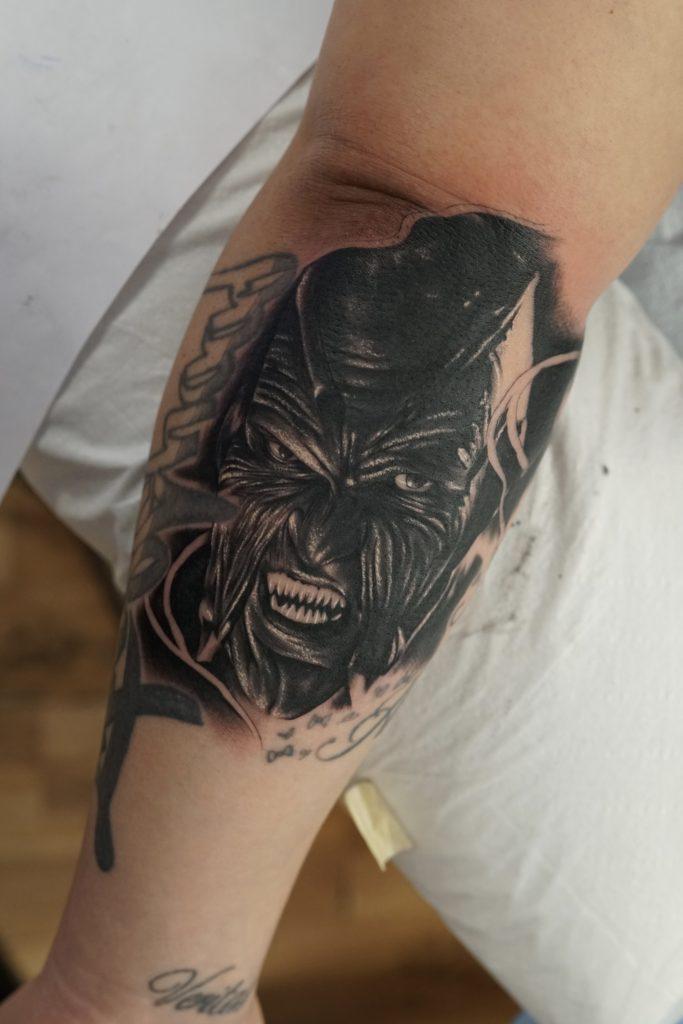Black and grey portrait tattoo of the creeper love n hate for Love n hate tattoo