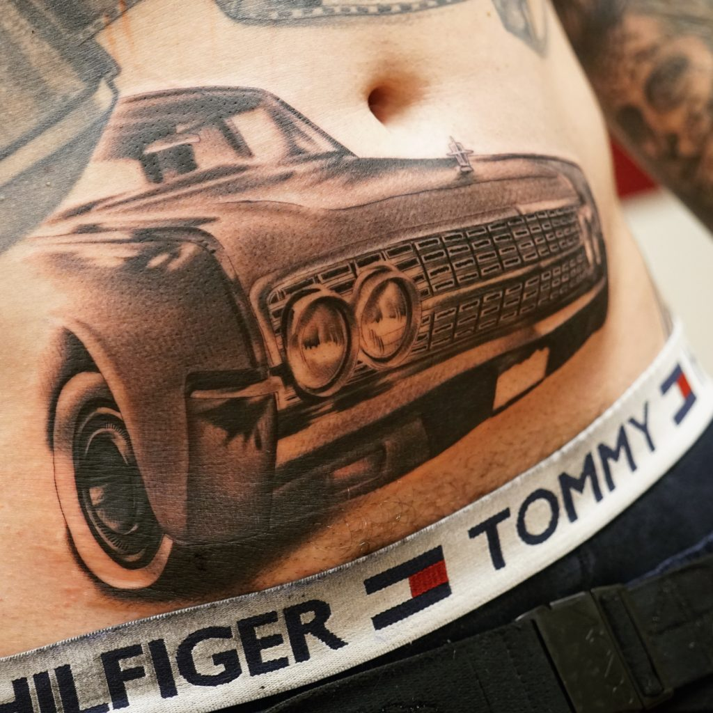 Black And Grey Photo Realism Tattoo Of A 1962 Lincoln Continental