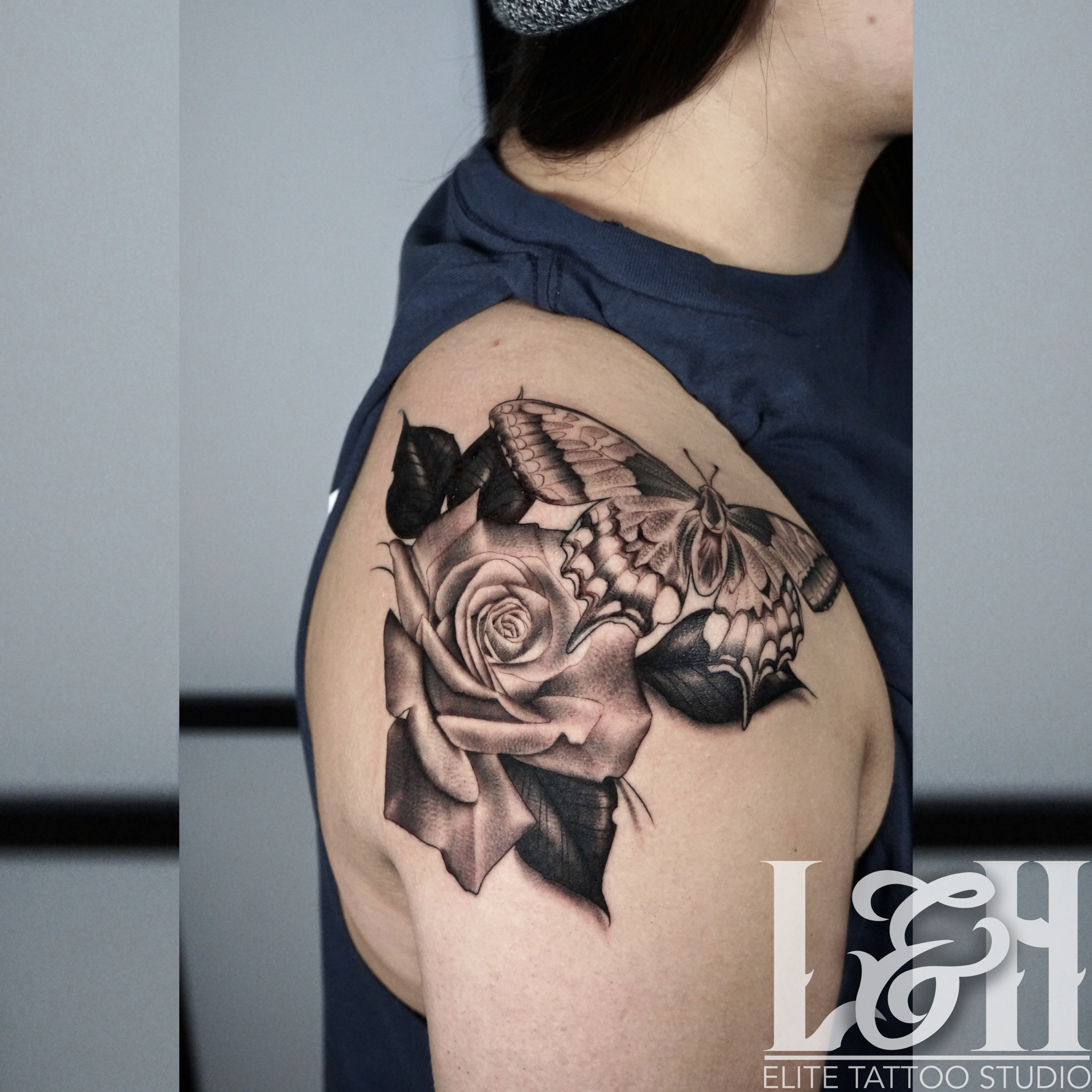 Black and Grey Butterfly and Roses Tattoo - Love n Hate