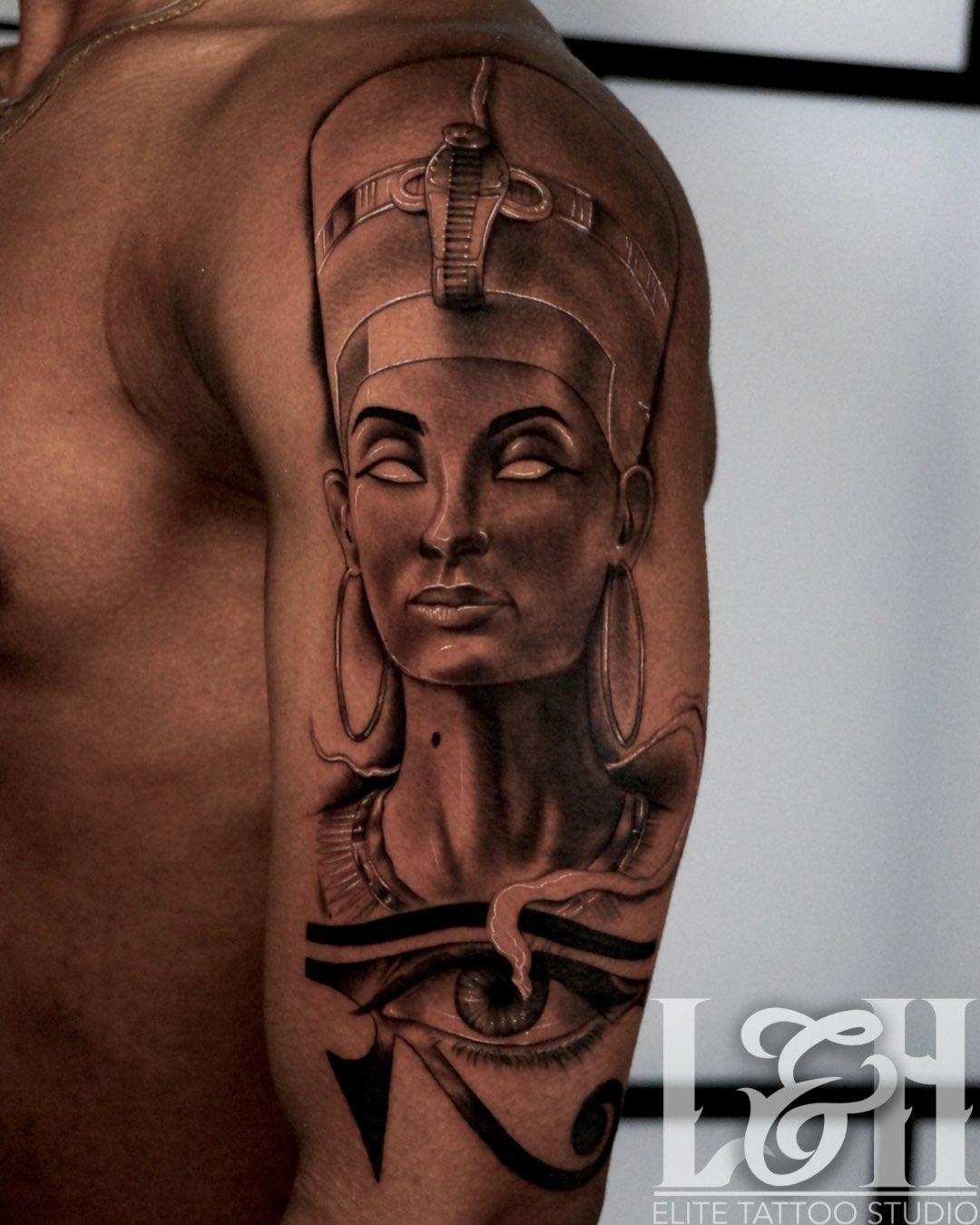 Queen Nefertiti Tattoo: Black And Grey Portrait Queen Nefertiti Tattoo