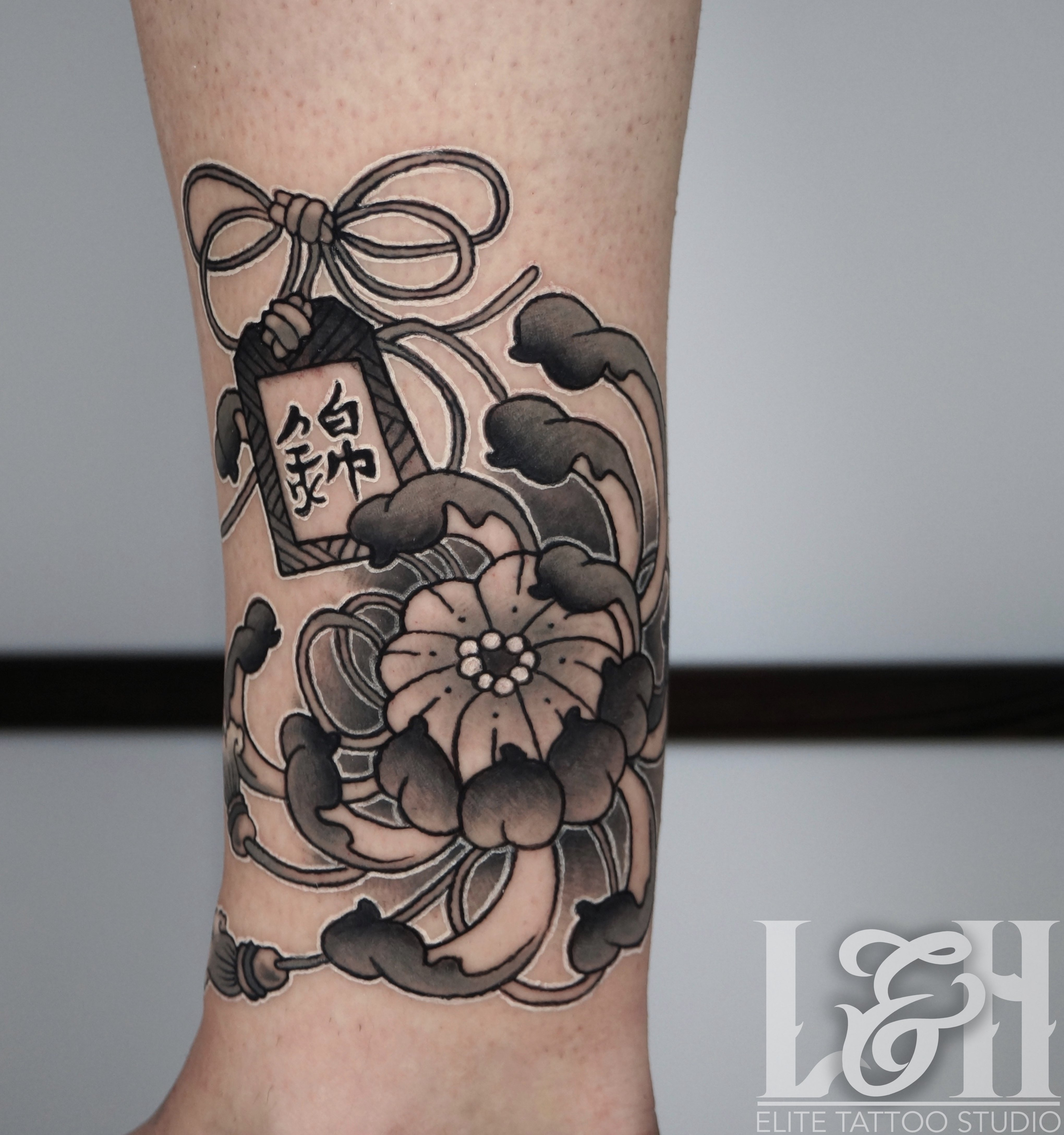 December Birth Flower Tattoo Black And White: Black And Grey Chrysanthemum Tattoo